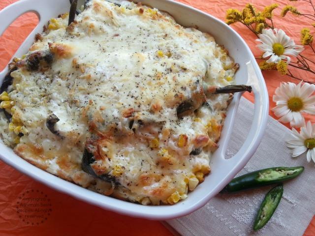 Poblano Rice Casserole Recipe #ABRecipes #LentenRecipes