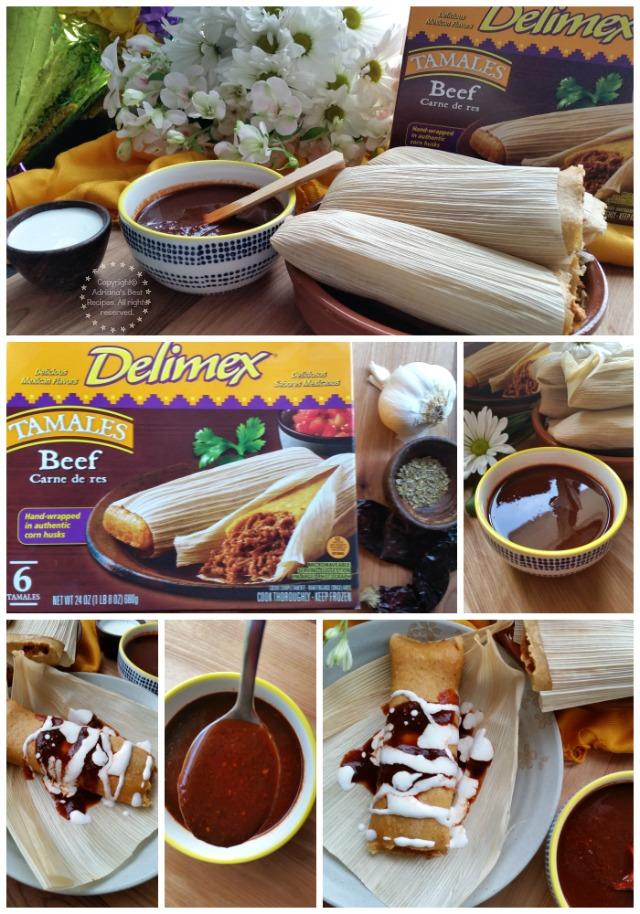 Beef tamales drizzled with guajillo sauce and crema fresca #DelimexFiesta #ad