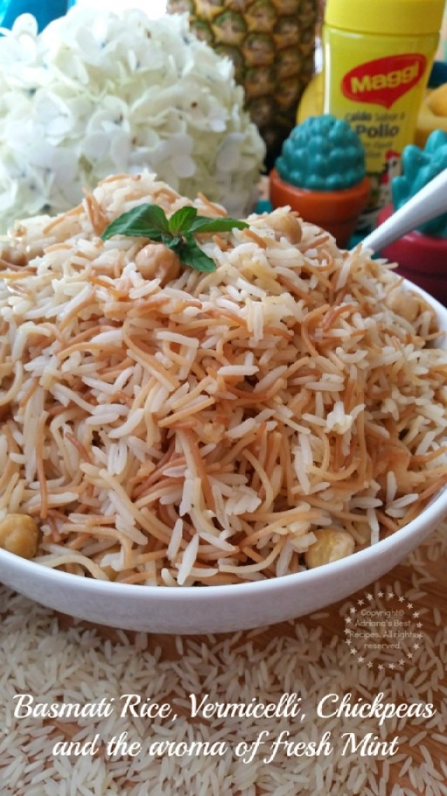 Basmati Rice Vermicelli Chickpeas and Fresh Mint #FlavorYourSummer #ad