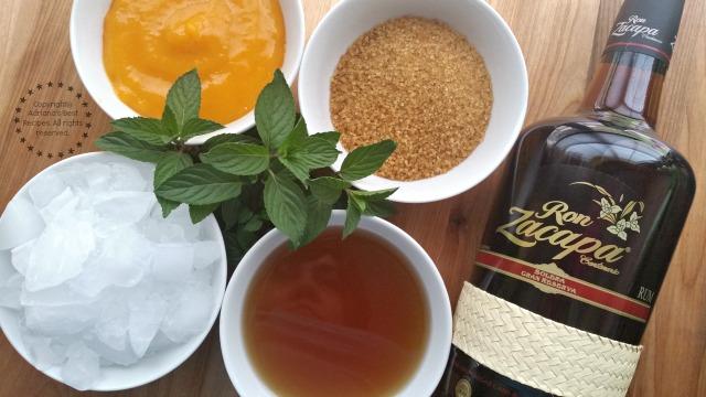 Ingredients for preparing a Rum Mango Mint Julep #ZacapaRum #ad