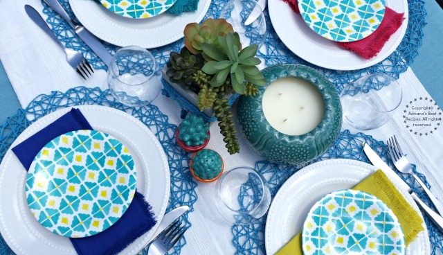 Tablescape for a Summer Grilling Party Outdoors #FlavorYourSummer  #ad