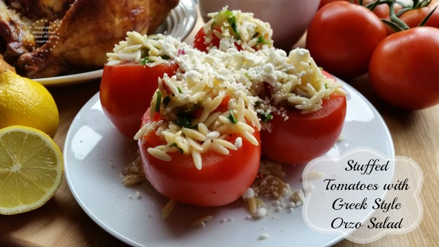 Stuffed Tomatoes with Greek Style Orzo Salad #ABRecipes