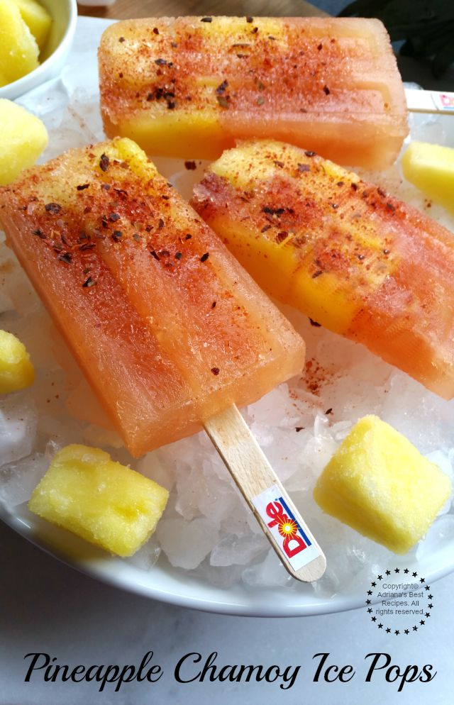 Pineapple Chamoy Ice Pops Sweet and Spicy Treat #DOLEcioso #ad