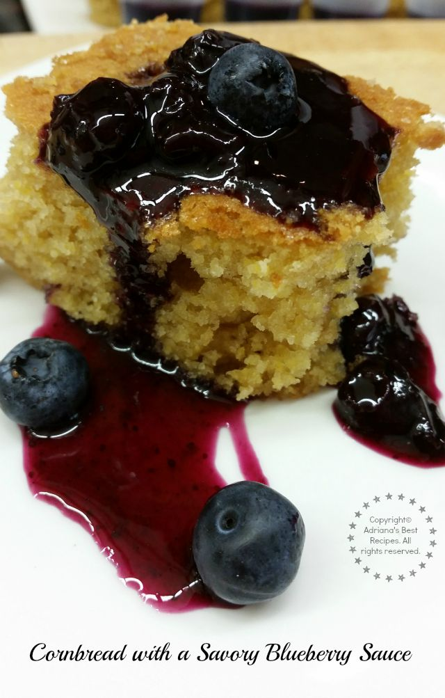 Cornbread with a savory blueberry sauce prepared by Adriana Martin  #LittleChanges