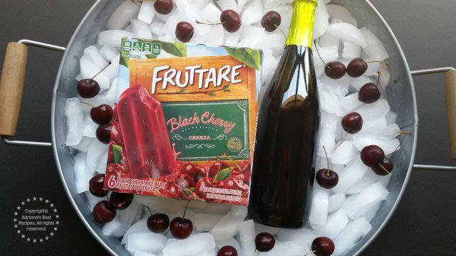 Using for this fun recipe Fruttare Black Cherry fruit bars and chilled non alcoholic pear cider #FruttareLife #ad