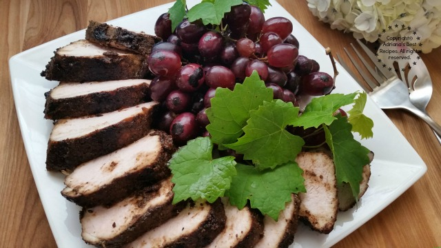 Grilled Pork Loin with Grapes and a Coffee Rub #ABRecipes
