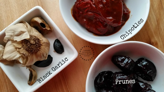 Black garlic chipotles and prunes