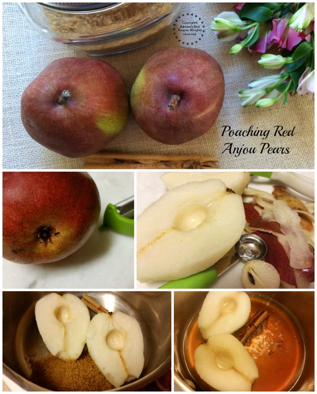Poaching Red Anjou Pears in Cinnamon Syrup