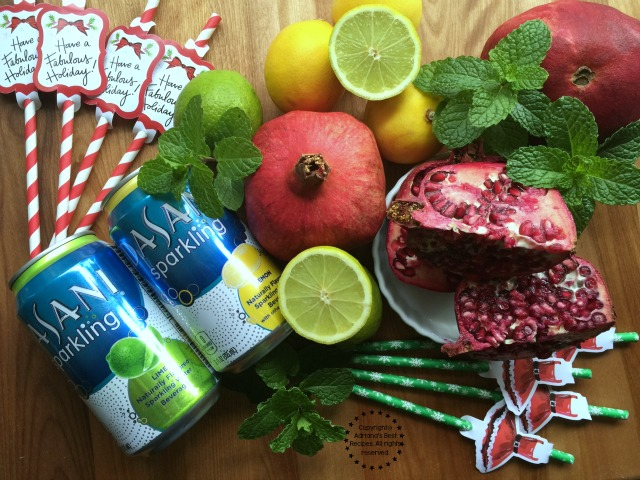 Ingredients for making the Minty Lemon Lime Pomegranate Spritzer #SparklingHolidays #ad