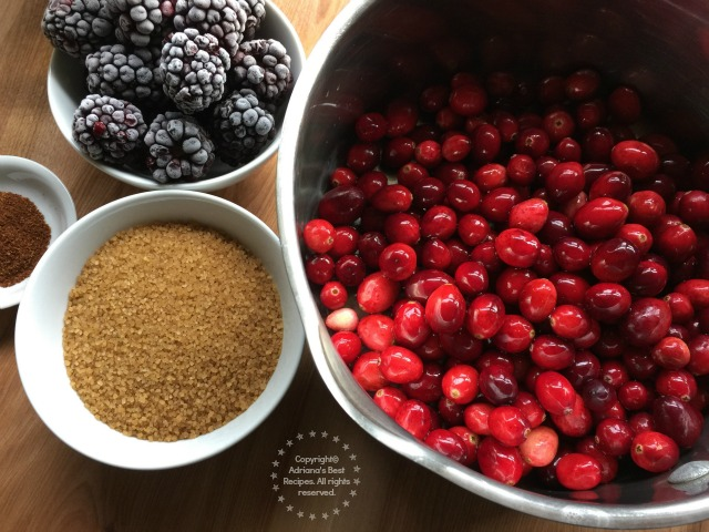 Ingredients for the Spicy Blackberry Cranberry Sauce