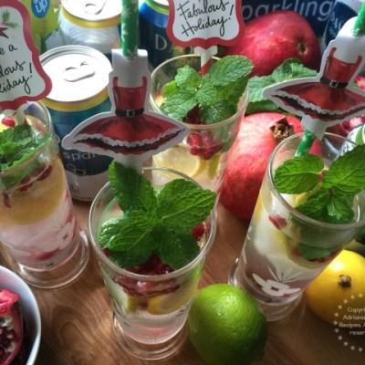 Minty Lemon Lime Pomegranate Spritzer