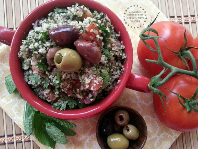 Tabbouleh is an Arabian vegetarian dish that I grew up with