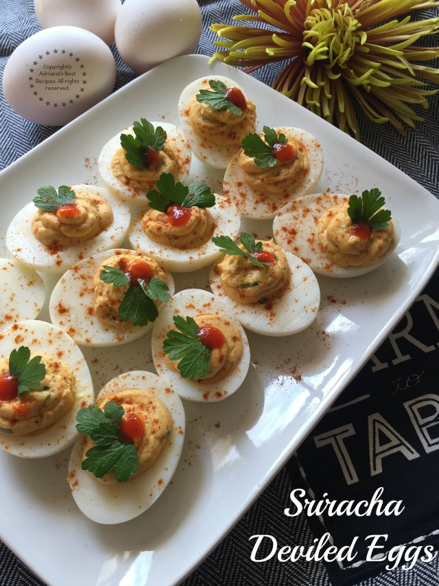 The Sriracha Deviled Eggs is perfect as a take along for parties and potlucks