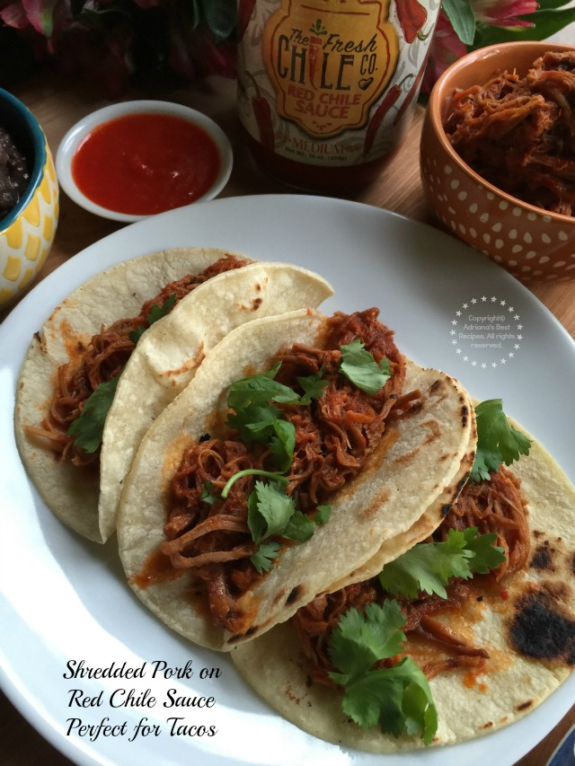 Shredded Pork on Red Chile Sauce perfect for tacos