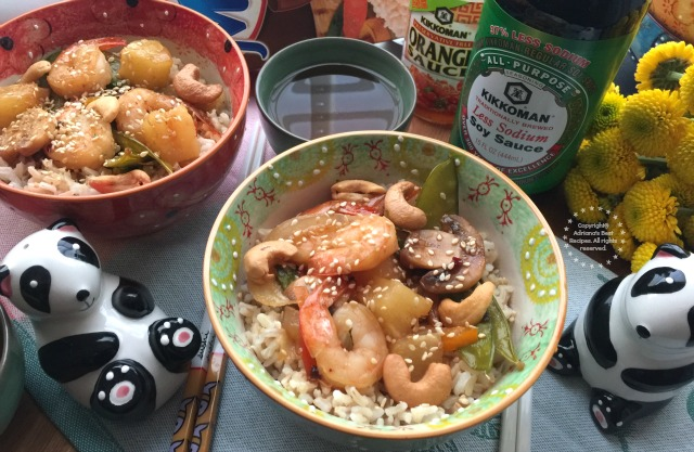 Chipotle Pineapple Shrimp Stir Fry, made with Kikkoman Soy Sauce with less sodium