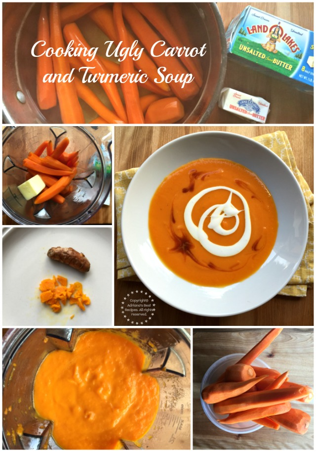 Cooking ugly carrot and turmeric soup