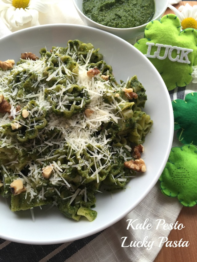 A Kale Pesto Lucky Pasta recipe is our suggestion to get lucky this St Patricks Day. The pesto is made with fresh baby kale, walnuts, olive oil