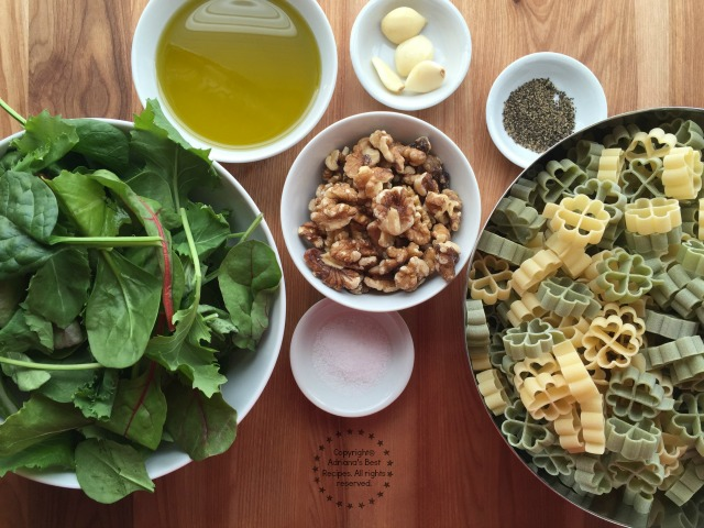 Ingredients for making the Kale Pesto Lucky Pasta