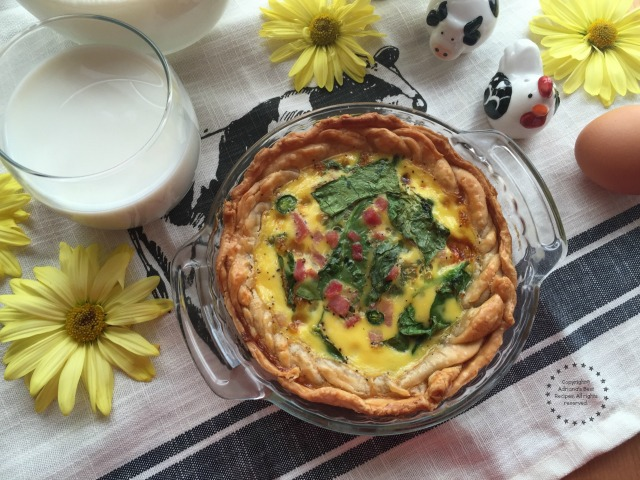 This recipe for Egg Breakfast Pie has 30 grams of protein per serving when paired with an 8 ounce glass of milk