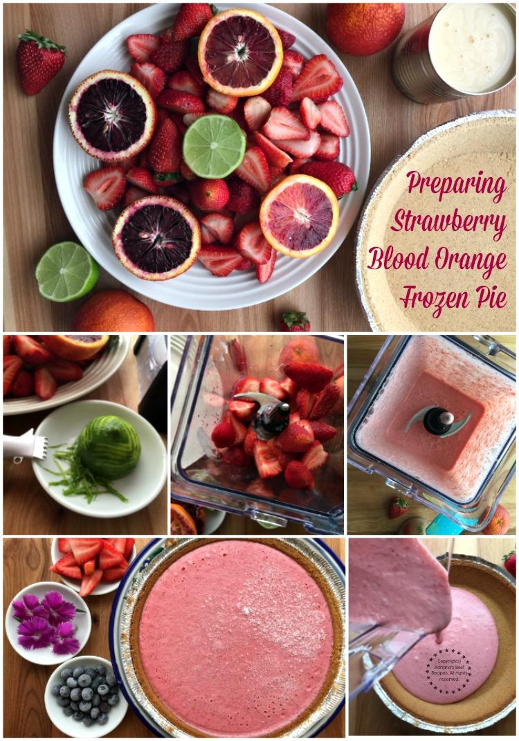 Preparing the Strawberry Blood Orange Frozen Pie