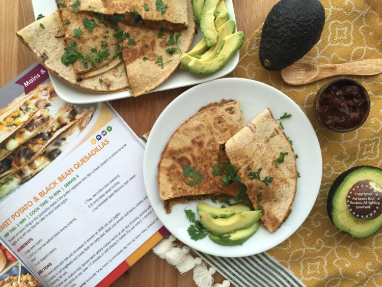 The cookbook recommends to pair the Sweet Potato Black Bean Quesadillas with plain Greek yogurt however I am pairing it with avocado slices instead