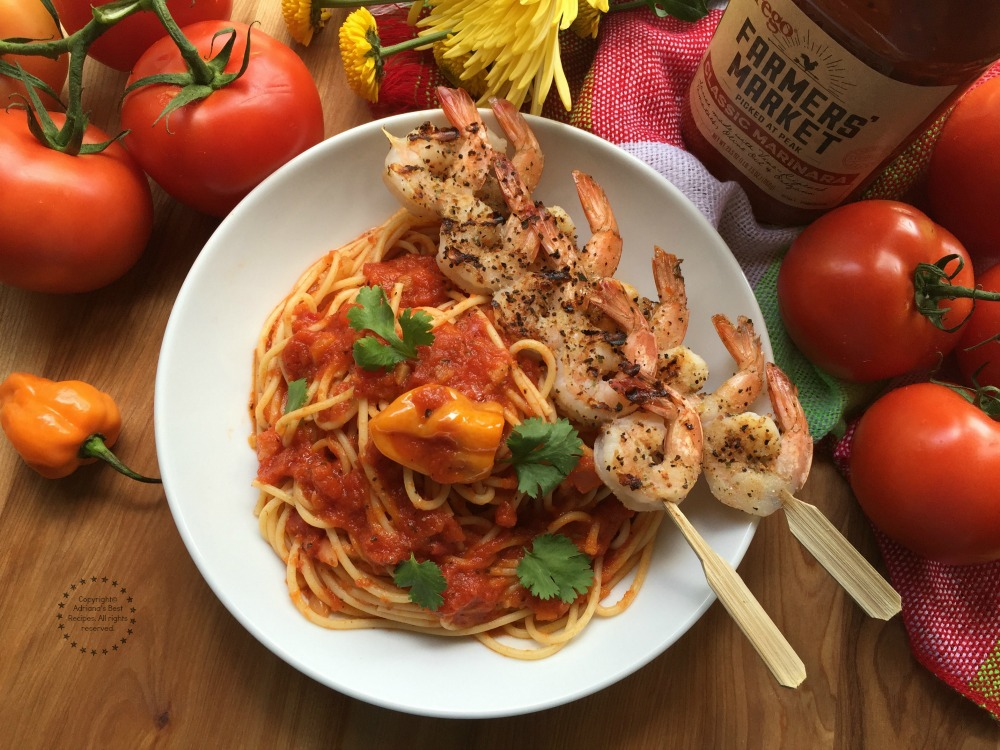 Cooking with good quality ingredients makes the difference to achieve flavorful dishes like this Marinara Habanero Shrimp Pasta