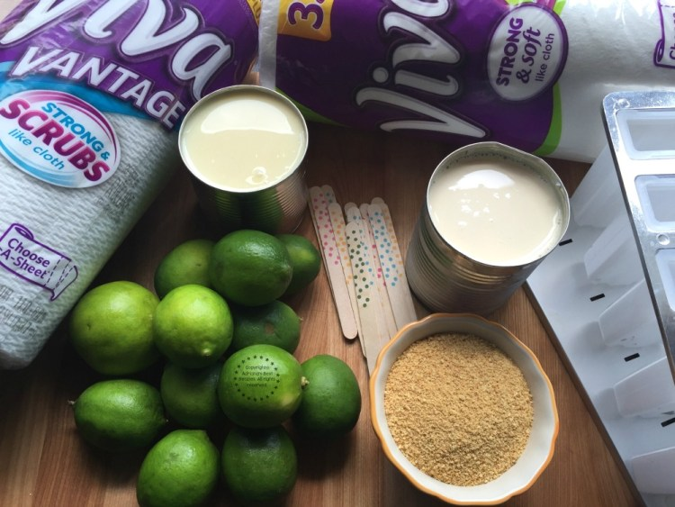 Ingredients for making the Key Lime Pie Popsicles
