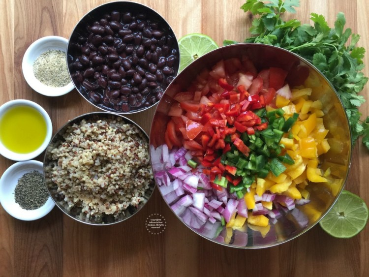 Making the quinoa salad with Mexican flavors