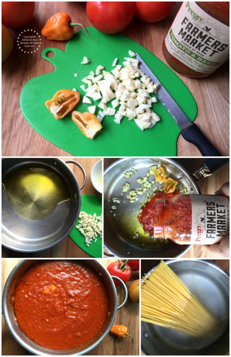 Preparing the habanero marinara sauce