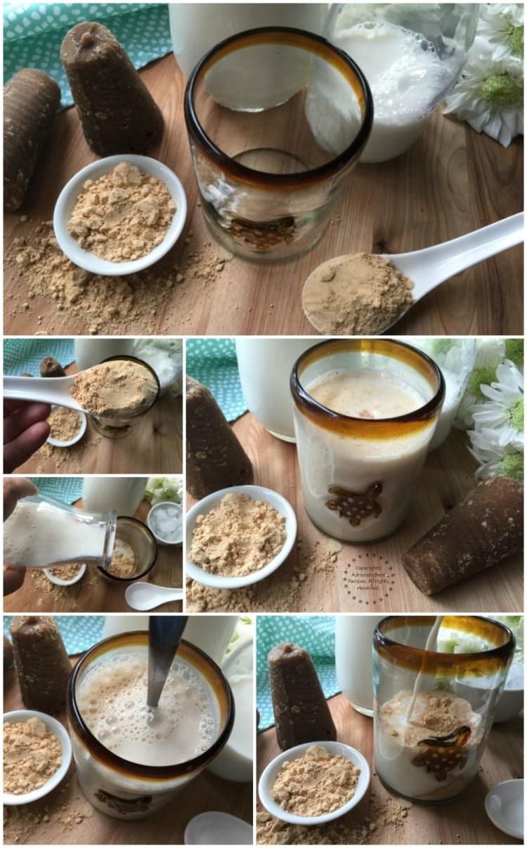 Haciendo leche con pinole