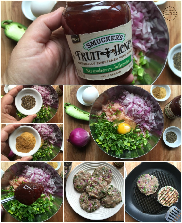 Preparando las hamburguesas de pavo y fresas con jalapeno