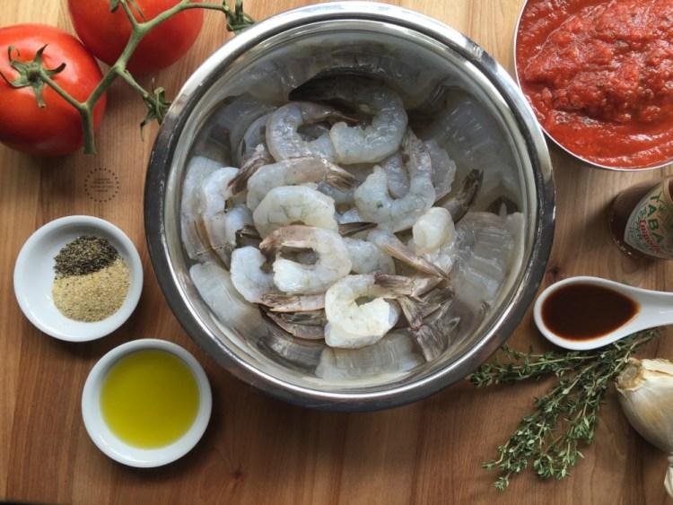 Ingredientes para cocinar los camarones diabla