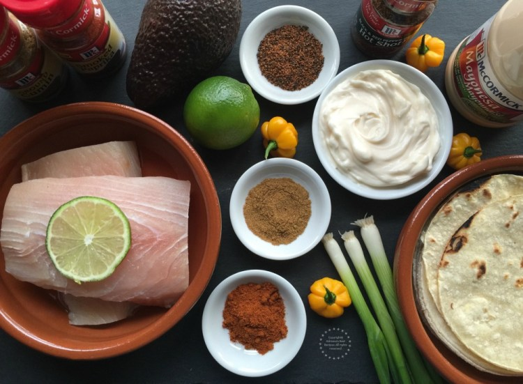 Ingredientes para los Tacos de Pescado con Mayonesa Picante