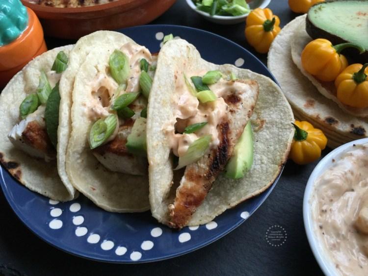 Spicy mayo fish tacos recipe adriana 39 s best recipes for Fish taco sauce mayo