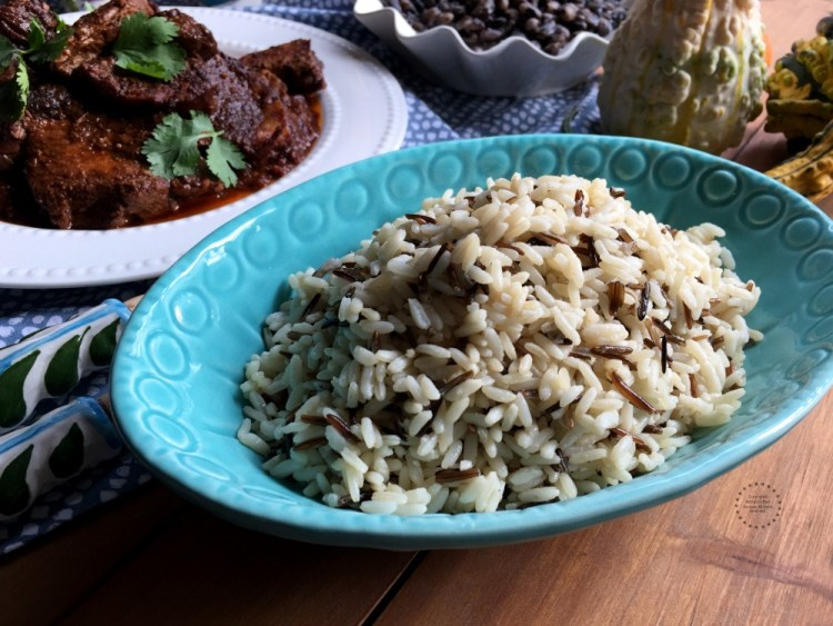 Pairing the Mexican Adobo Pork Shoulder with wild rice and orca beans