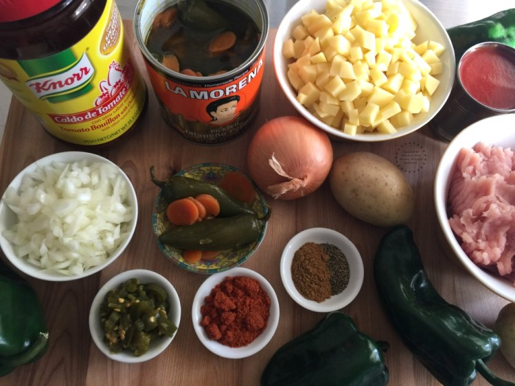 Ingredients for making the Spicy Turkey Picadillo Chiles Rellenos