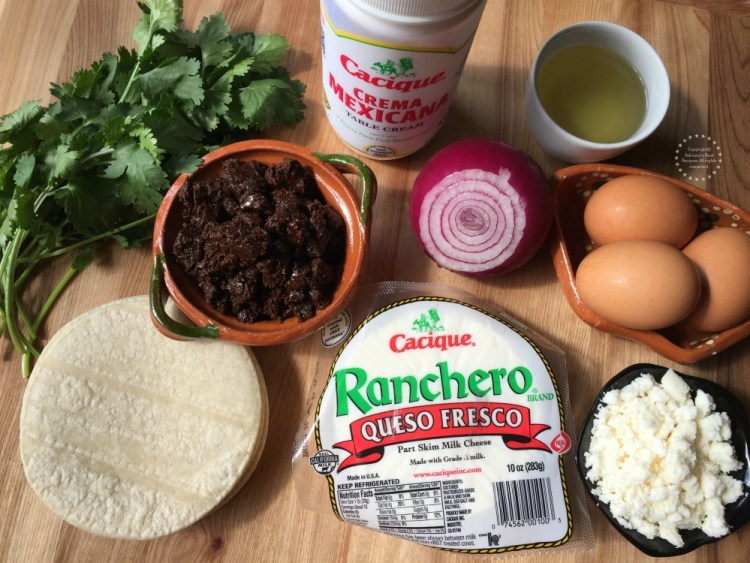 Ingredientes para los chilaquiles de mole