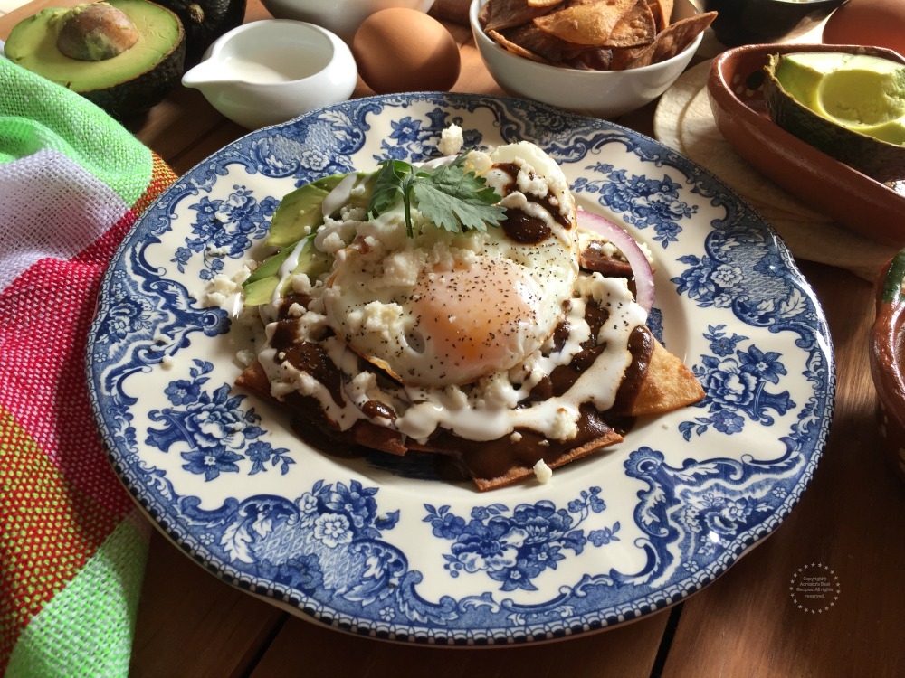 Tasty Mole Chilaquiles is what we have in the menu