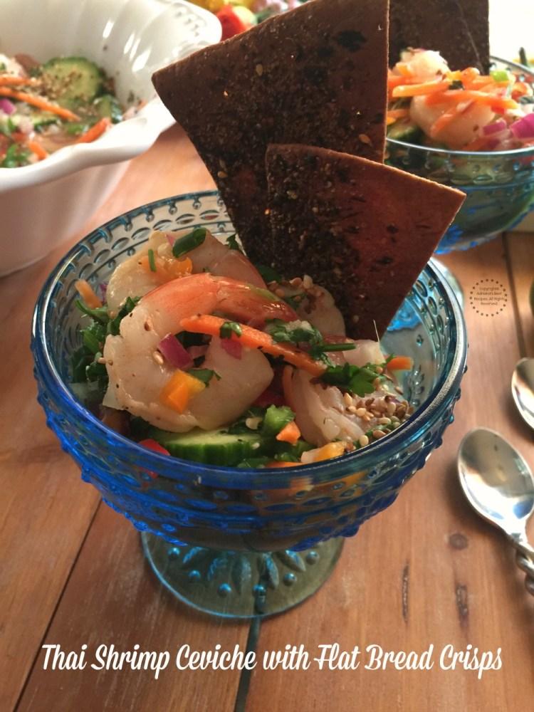 A yummy Thai Shrimp Ceviche for enjoying with friends this football season