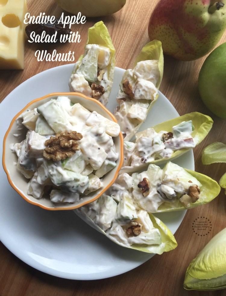 Las Endivias Rellenas de Ensalada de Manzana con ingredientes como manzanas verdes, pera, queso gruyere, dátiles, nueces de castilla, mayonesa y endivias frescas
