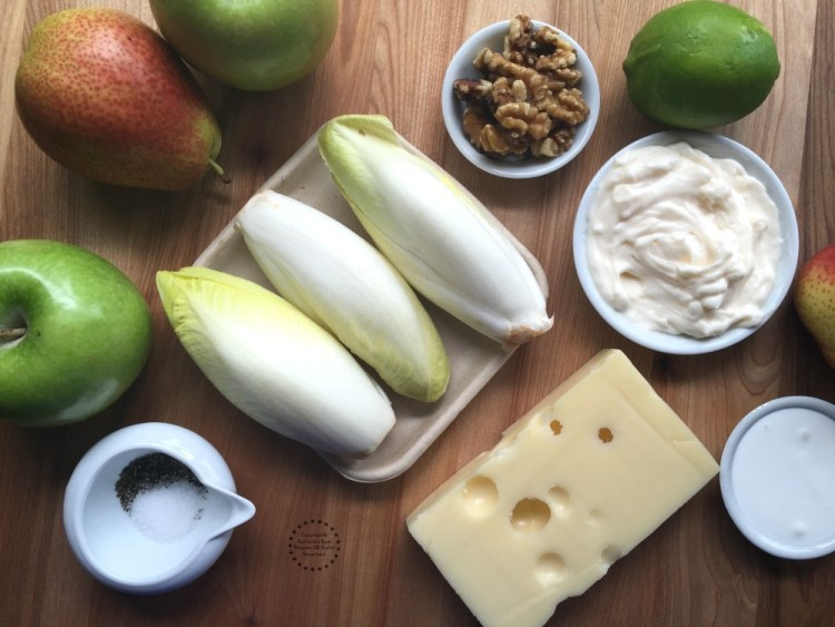 Ingredients for making the Endive Apple Salad with Walnuts