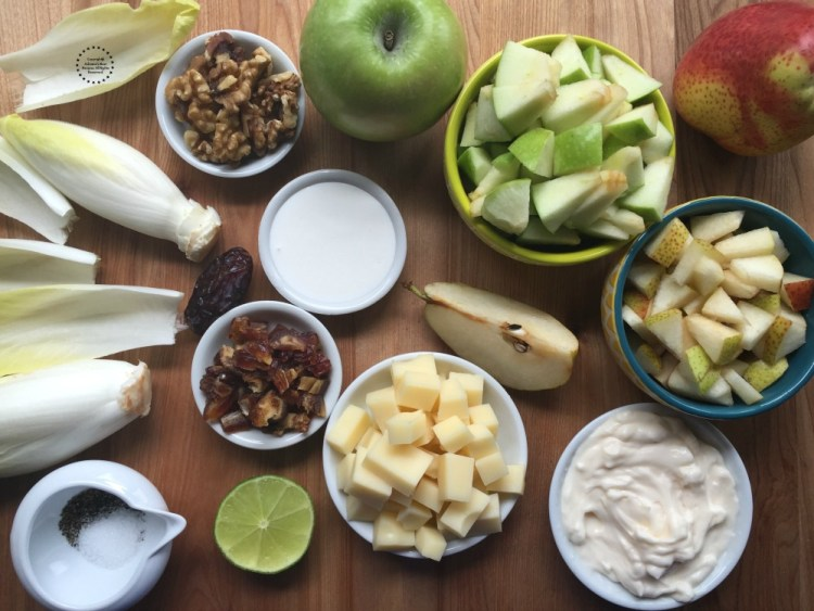 Prepping all the ingredients for the salad
