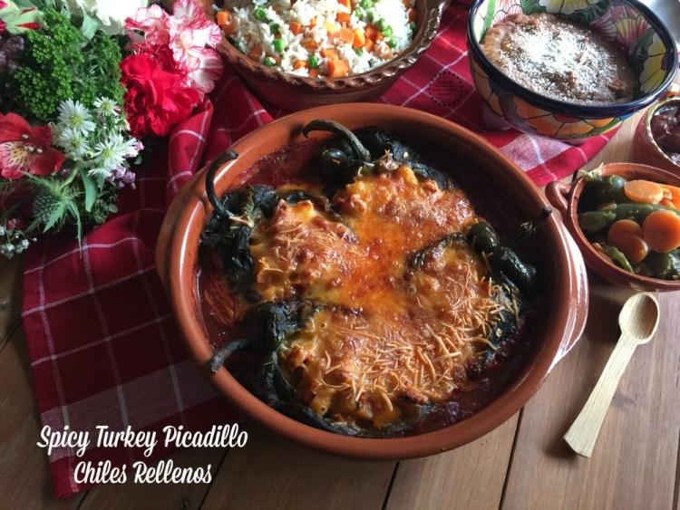 Spicy Turkey Picadillo Chiles Rellenos