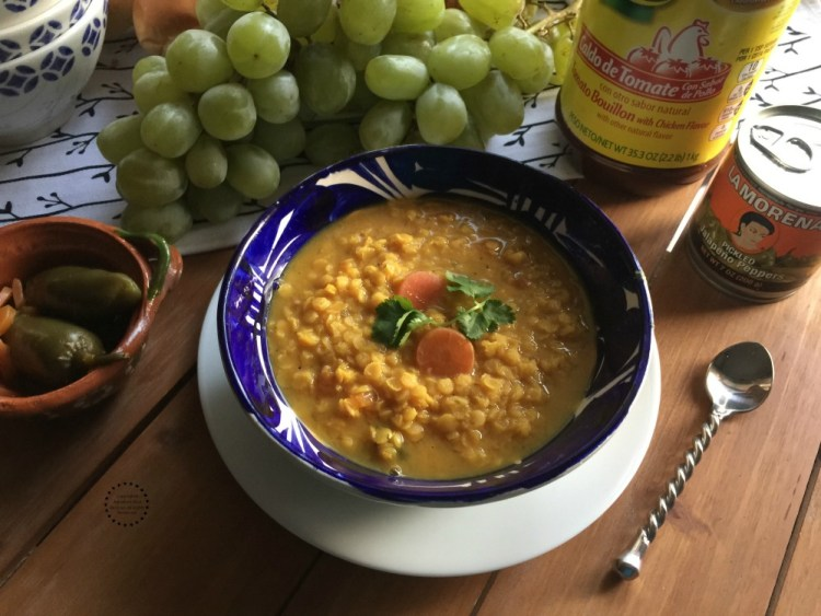 Tasty spicy red lentils soup for New Year made with trusted brand products