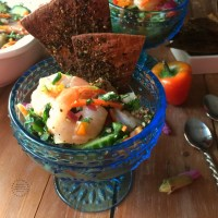 Thai Shrimp Ceviche with Flat Bread Crisps