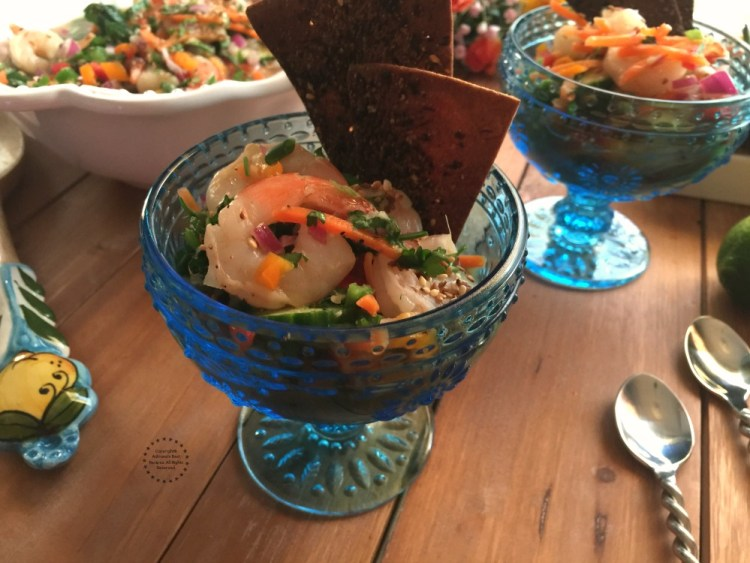 The Thai Shrimp Ceviche pairs nicely with white wine or a light beer