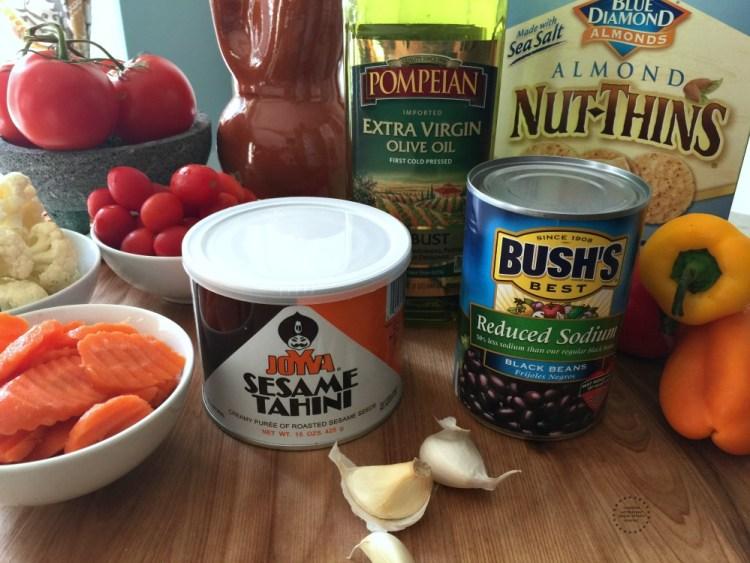 Ingredients for making the Black Bean Hummus