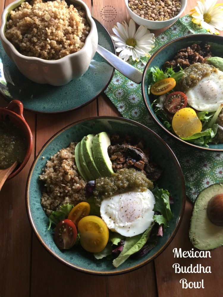 A Mexican Buddha Bowl cooked with fresh produce, Mexican spices and MorningStar Farms Grillers Crumbles. This is a tasty meatless meal for lent season