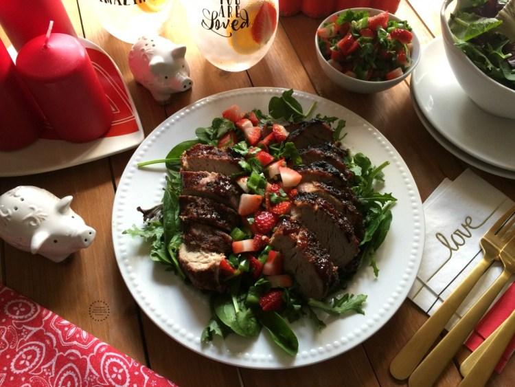 A lovely dinner with strawberry jalapeño pork loin