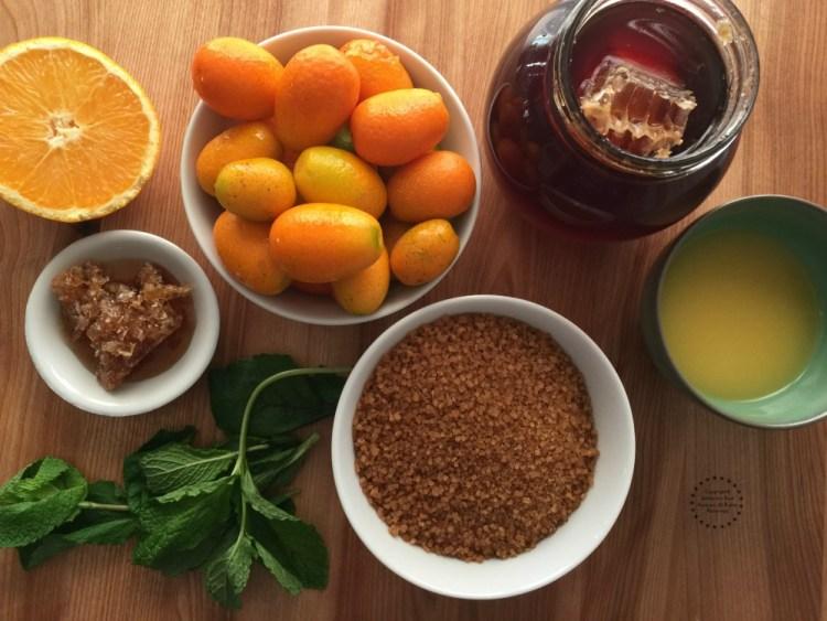 Ingredients for the honeycomb kumquat confit